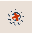 3D cog wheel with Britain flag vector image vector image