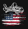 american flag and san diego text grunge print vector image