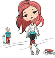 baby girl with a skateboard vector image vector image