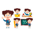 back to school set five poses cute girl vector image vector image