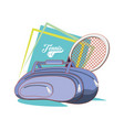 bag and racket to play tennis sport vector image vector image