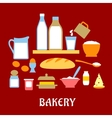Bakery concept with dough ingredients vector image