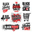 black friday sale labels set vector image vector image