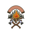 bonfire with two axes vector image