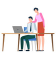 boss and programmer working on laptop business vector image vector image