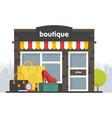 boutique facade of a boutique in a flat style box vector image vector image