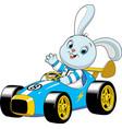 bunny in a sport carxa vector image vector image