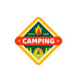 camping adventure outdoors - concept badge logo vector image