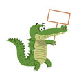 cartoon crocodiles with empty signboard vector image