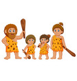 caveman family is posing and smiling vector image