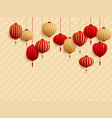 chinese lanterns on traditional oriental pattern vector image vector image