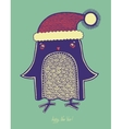 christmas bird doodle penguin in a hat merry c vector image