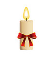 christmas candle with red bow flame icon vector image vector image