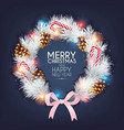 christmas design with pine branch and cone vector image vector image