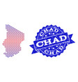 composition of gradiented dotted map of chad and vector image vector image