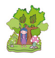 cute little fairy with tree character vector image