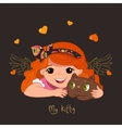 Cute redhead girl and her kitty vector image vector image