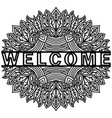 doodling cute pattern with message welcome hand vector image