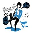 drawing a man blowing saxophone vector image