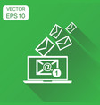 email envelope message on laptop icon business vector image vector image