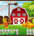 farm scene in nature with barn and scarecrow vector image vector image