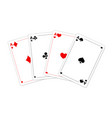 four aces four a kind poker quads good luck vector image