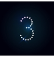 Gems 3 number Shiny diamond font vector image