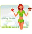 girl chooses between apple or cake