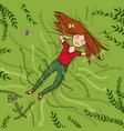 girl lying on grass summer vector image