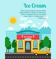 ice cream banner with shop building vector image vector image
