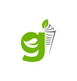 initial letter g with paper and leaf shape in vector image vector image