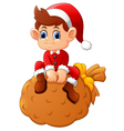 little santa sitting on sack vector image vector image