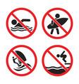 no swimming and no surfing sign set no swimming vector image