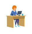 office worker in strict clothes in cabinet vector image vector image