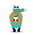 panda wearing scarf and pullover with cup vector image vector image