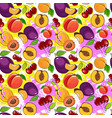 seamless pattern different fruits summer ornament vector image vector image