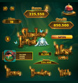 set bar buttons titles for shadowy forest gui vector image vector image