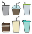 set beverage cup vector image vector image