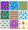 set ice cream seamless pattern background cartoon vector image vector image