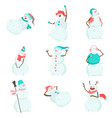 set of funny and funny snowmen funny snowmen in vector image vector image