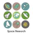 Space Research Line Art Thin Icons Set vector image vector image