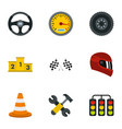 speed auto championship signs icons set flat style vector image