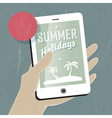 summer travel concept with phone vector image
