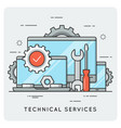 technical services thin line concept vector image vector image