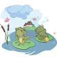 The enamored young frog cartoon vector image vector image