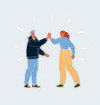 two people giving high five vector image vector image