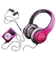 watercolor headphones and mp3 player vector image vector image