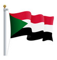 waving sudan flag isolated on a white background vector image vector image