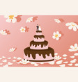 wedding cake with bride and groom figurines on top vector image vector image