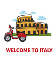 welcome to italy promotional banner with famous vector image
